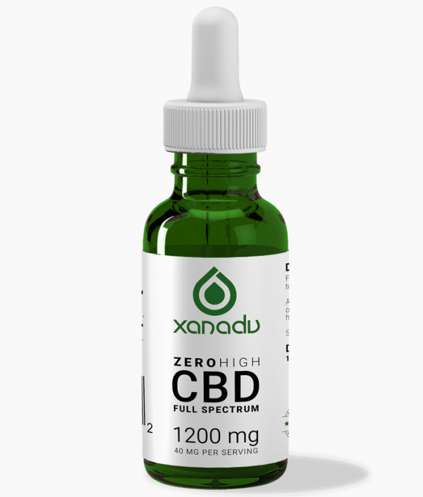 Xanadu 1200mg full spectrum CBD oil - front label
