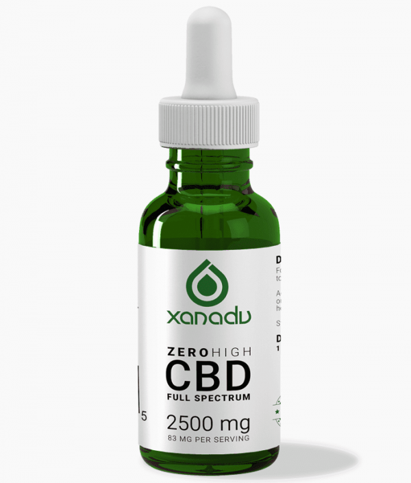 Xanadu 2500mg full spectrum CBD oil - front label