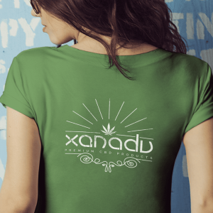 ladies bella t-shirt white art on green shirt back xanadu cbd