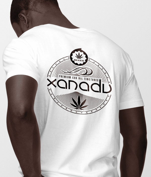 mens next level t-shirt black art on white shirt back xanadu cbd