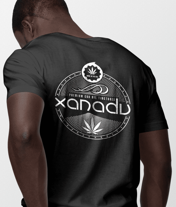 mens next level t-shirt white art on black shirt back xanadu cbd