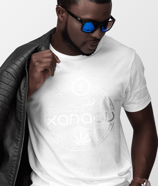 mens next level t-shirt white art on white shirt front xanadu cbd