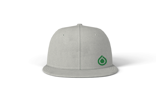 Xanadu Flexfit 6 panel wool blend front view white hat with green art