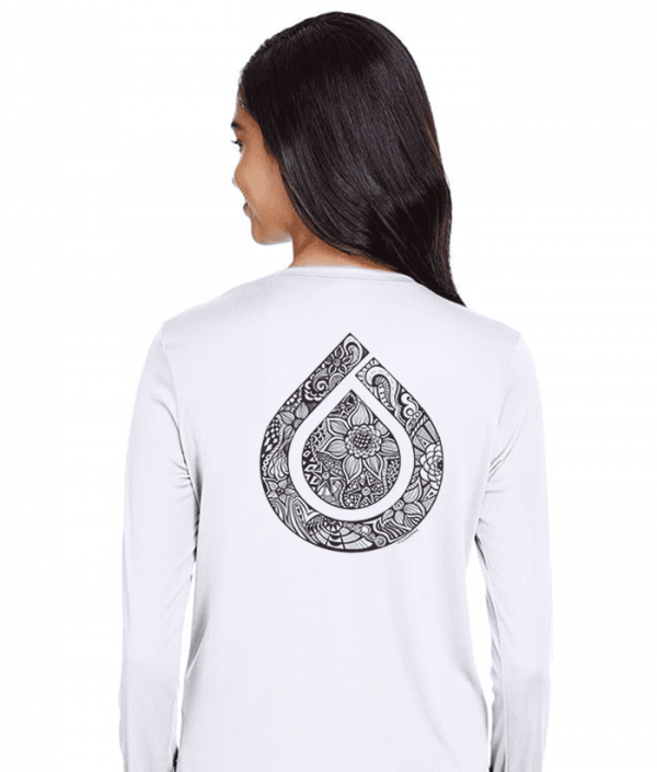 Ladies Long Sleeve White Dry Fit Shirt with Black Art - Back