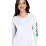 Ladies Long Sleeve White Dry Fit Shirt with Green Art – Front