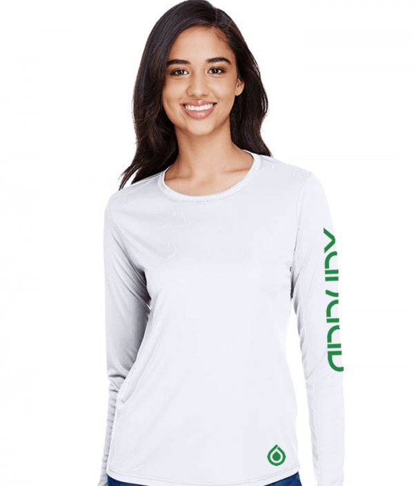 Ladies Long Sleeve White Dry Fit Shirt with Green Art - Front